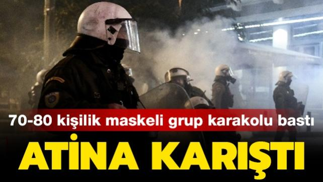 Atina karıştı: 70-80 kişilik maskeli grup polis karakolunu bastı