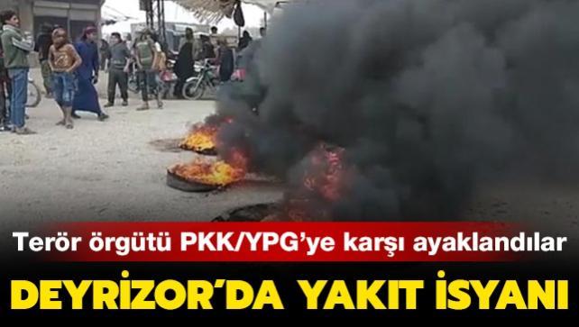 Deyrizor'da yakıt isyanı: Terör örgütü PKK/YPG'ye karşı ayaklandılar