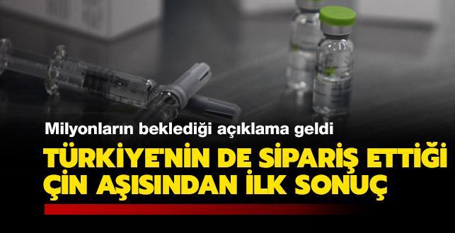 Türkiye'nin de sipariş ettiği Çin aşısından ilk sonuç: Yüzde 97 koruma sağladı