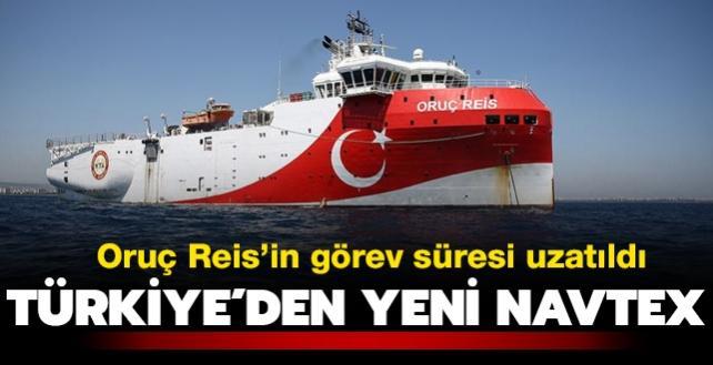 Oruç Reis için Doğu Akdeniz'de yeni Navtex... Görev süresi uzatıldı