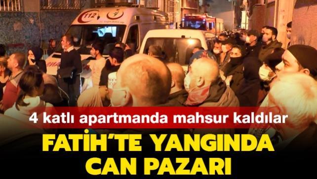 Son dakika haberleri... Fatih'te yangında can pazarı: 4 katlı apartmanda mahsur kaldılar