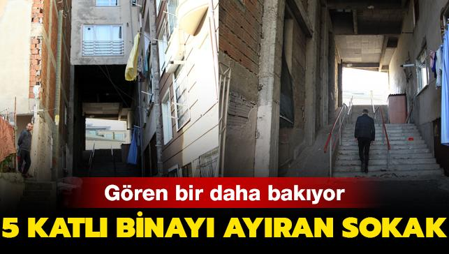 Gören bir daha bakıyor! Samsun'da 5 katlı binanın altından geçen sokak hayrete düşürdü...
