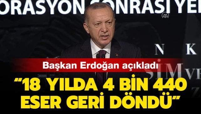 Başkan Erdoğan: Son 18 yılda 4 bin 440 eseri yeniden ait olduğu topraklara kavuşturduk