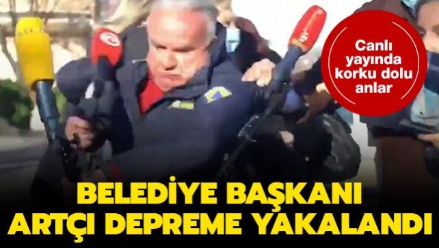 Canlı yayında korku dolu anlar: Belediye başkanı artçı depreme yakalandı