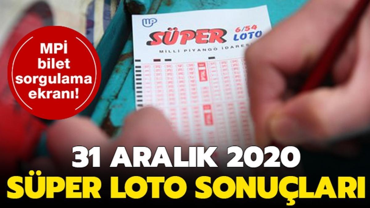 Süper Loto 31 Aralık 2020 sonuçları açıklandı