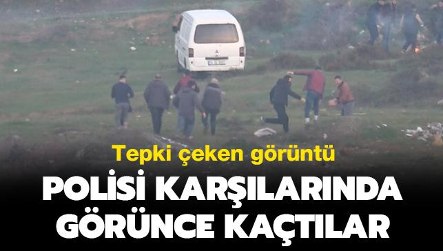 Arnavutköy'de tepki çeken görüntü: Polisi karşılarında görünce kaçtılar