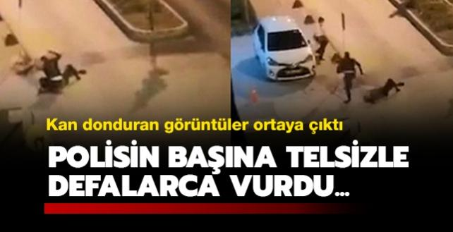 Kan donduran görüntüler ortaya çıktı: Polisin başına telsizle defalarca vurdu...