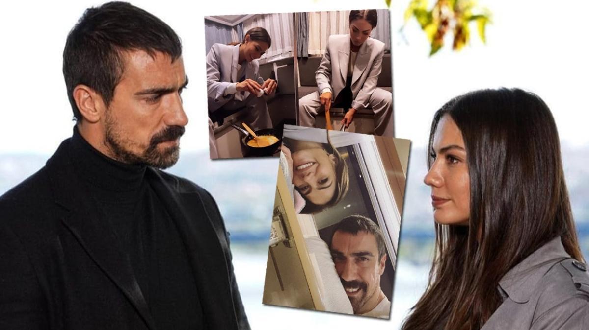 Doğduğun Ev Kaderindir dizisinin yıldızları Demet Özdemir ve İbrahim Çelikkol'dan eğlenceli set paylaşımları