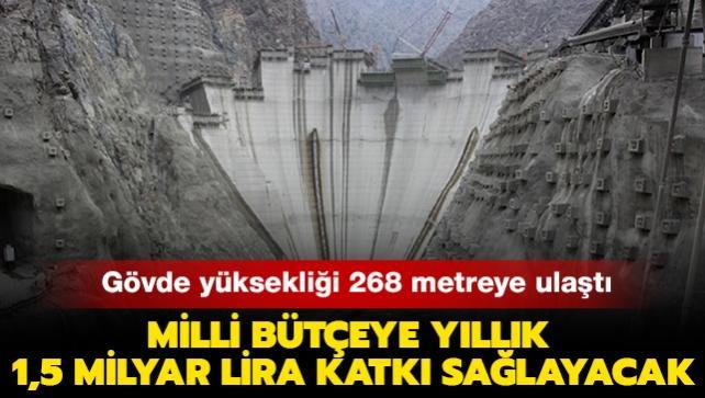 Yusufeli Barajı'nın gövde yüksekliği 268 metreye ulaştı: Milli bütçeye yıllık 1,5 milyar lira katkı sağlayacak