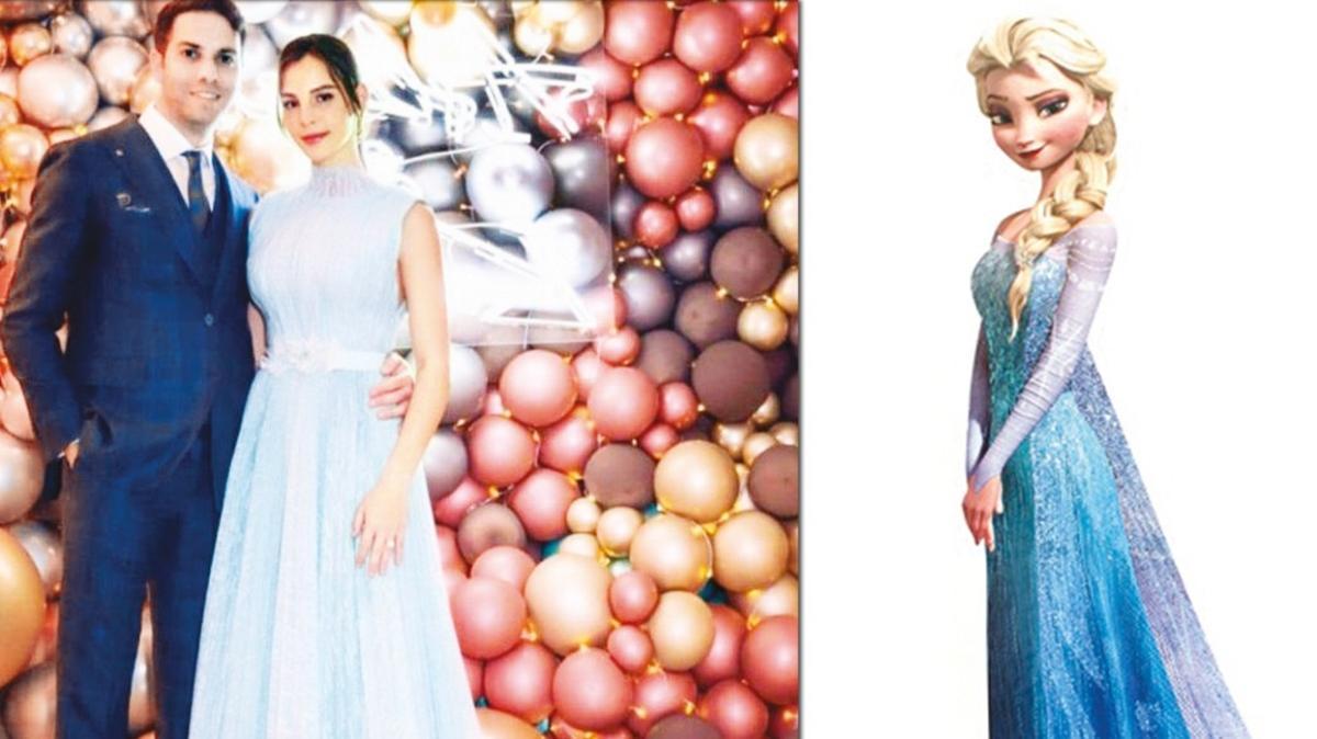 Hülya Koçyiğit'in torunu Aslışah Alkoçlar nişan kıyafeti ile Karlar Kraliçesi Elsa oldu