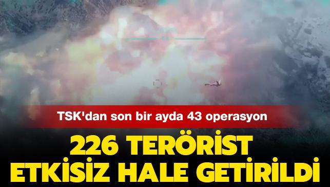 TSK'dan son bir ayda 43 operasyon: 226 terörist etkisiz hâle getirildi