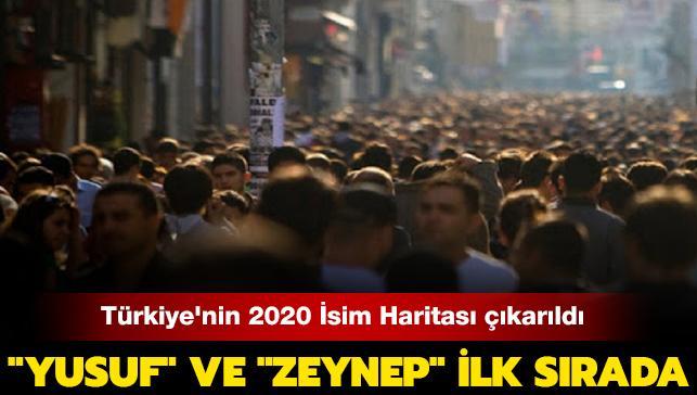 """""""Yusuf"""" ve """"Zeynep"""" ilk sırada: Türkiye'nin 2020 İsim Haritası çıkarıldı"""