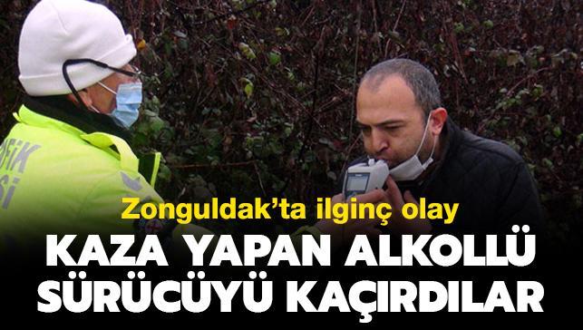Zonguldak'ta ilginç olay: Kaza yapan alkollü sürücüyü kaçırdılar