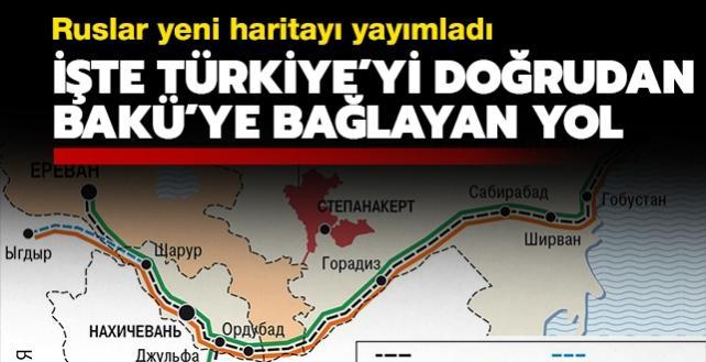 Kommersant gazetesi, Türkiye ile Azerbaycan'ı birbirine bağlayan yeni haritayı yayımladı