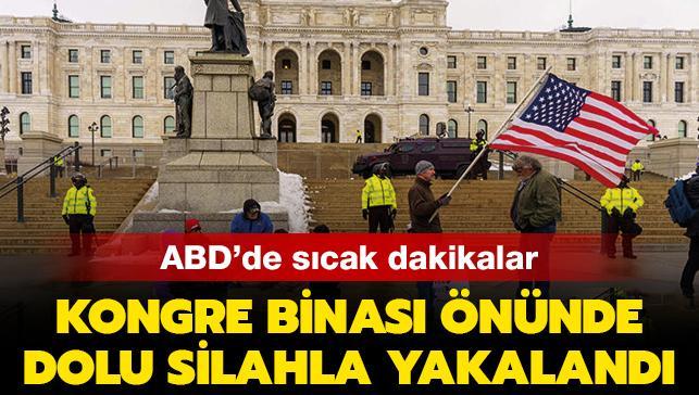 ABD'de sıcak dakikalar: Kongre binası önünde dolu silahla yakalandı