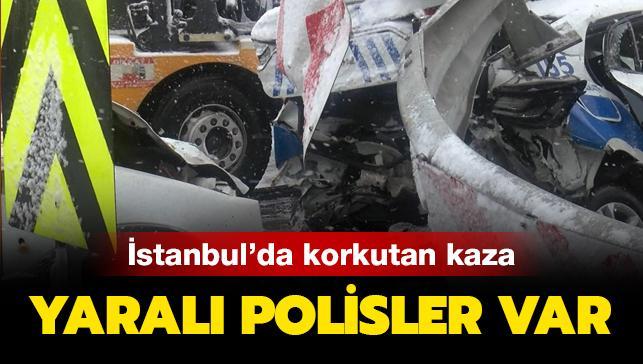 Beşiktaş'ta polis araçları kaza yaptı! Yaralı polisler var...