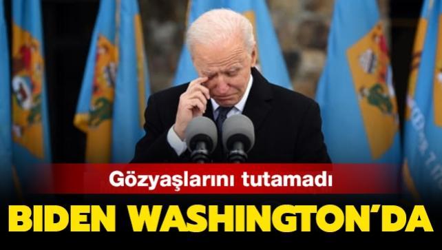 Biden, Washington'daki konuşmasında gözyaşlarını tutamadı