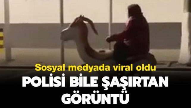 Sosyal medyada viral oldu: Polisi bile şaşırtan görüntü