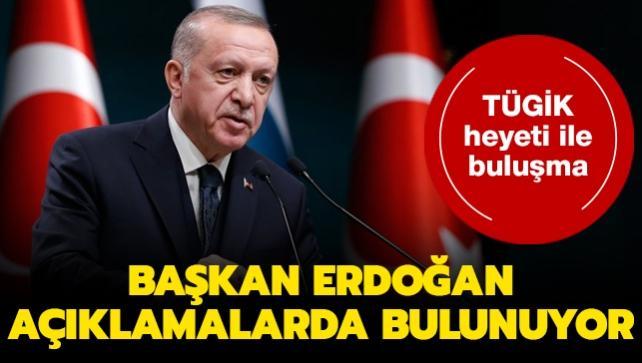 Başkan Erdoğan TÜGİK Genel Başkanı Güral ve beraberindeki heyeti kabul ediyor