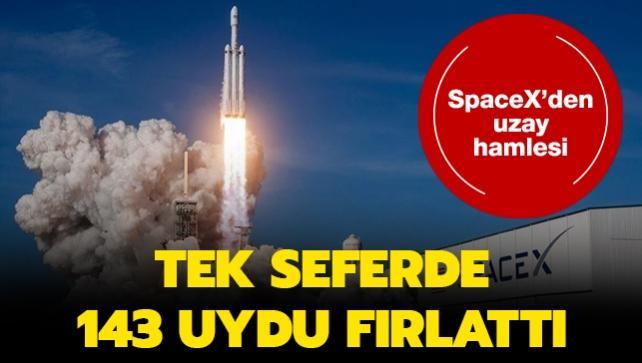 SpaceX'den uzay hamlesi... Tek seferde 143 uydu fırlattı