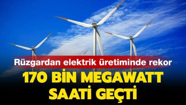 Rüzgardan elektrik üretiminde rekor: 170 bin megawatt saati geçti
