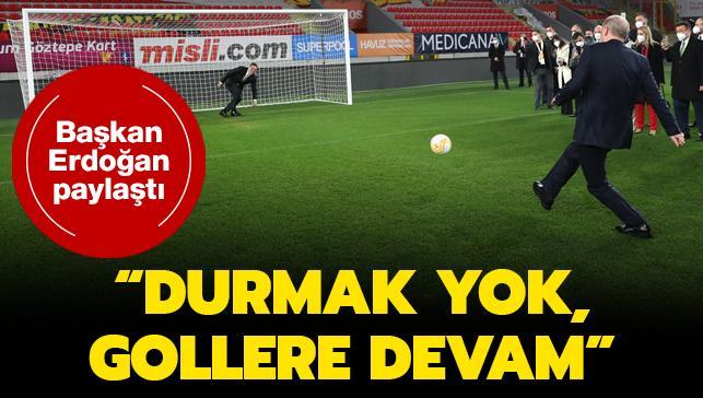 """Başkan Erdoğan paylaştı... """"Durmak yok, gollere devam"""""""