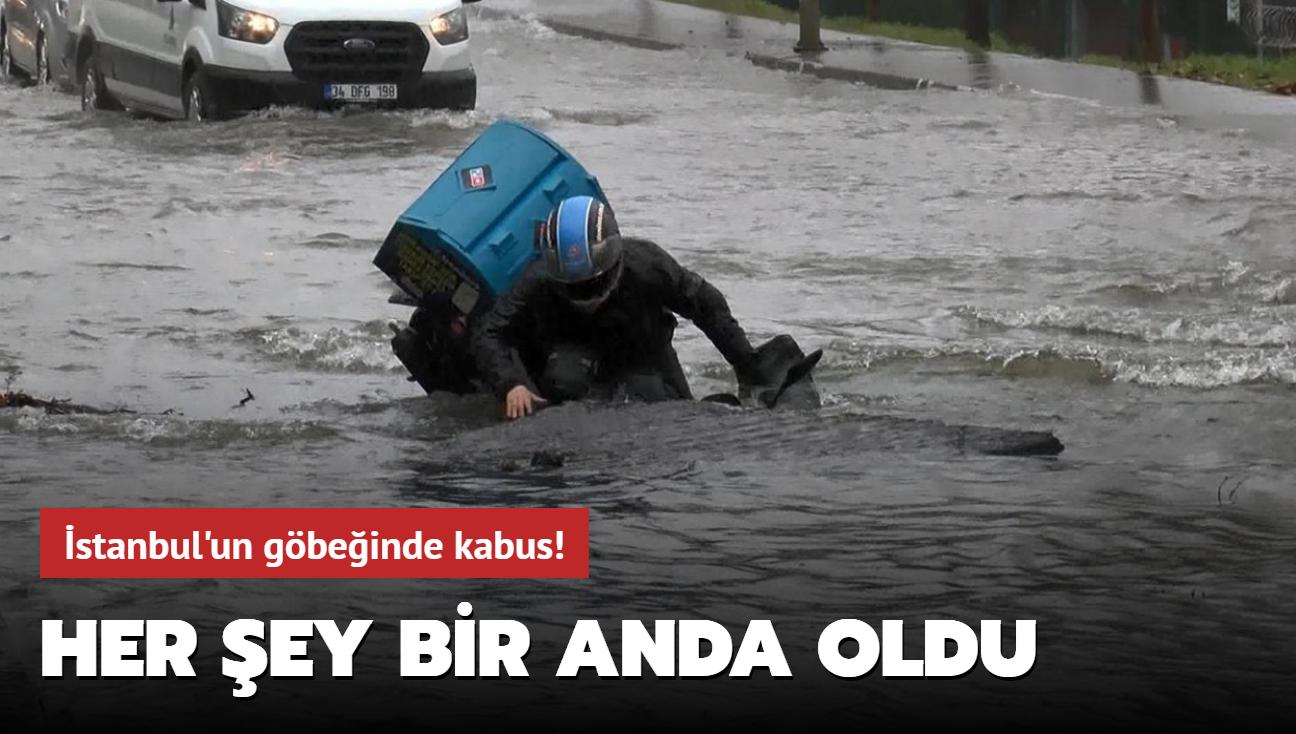 İstanbul'da bir içme suyu borusunda meydana gelen patlama sonucu cadde göle döndü
