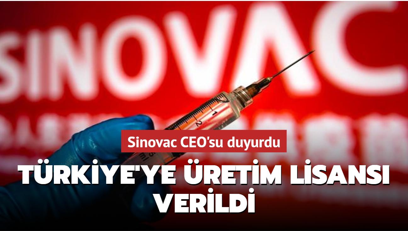 Son dakika haberi... Sinovac, Türkiye'ye üretim lisansı verdi