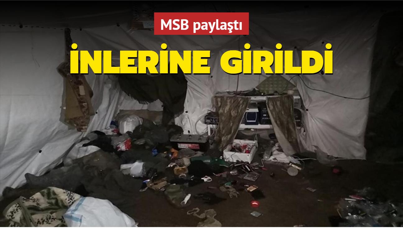 """""""Pençe"""" operasyonunda PKK'lı teröristlerin kullandığı 14 odalı mağara ele geçirildi"""
