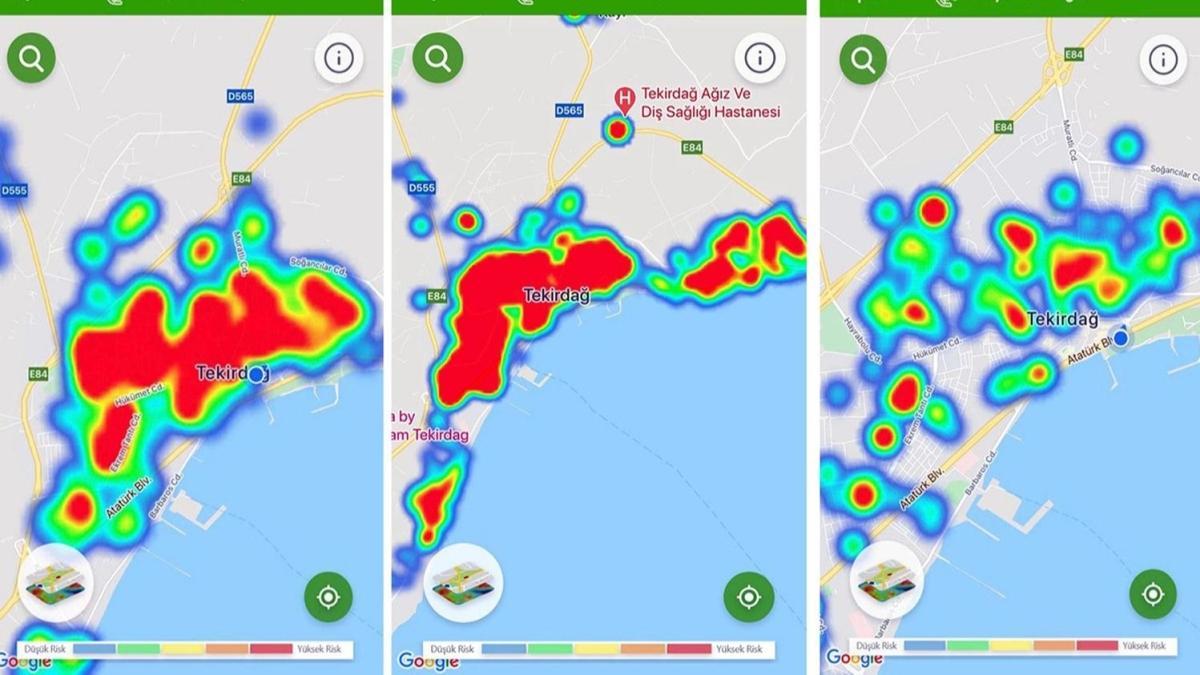 Tekirdağ'da koronavirüs vaka haritası kırmızı renkten yeşile döndü