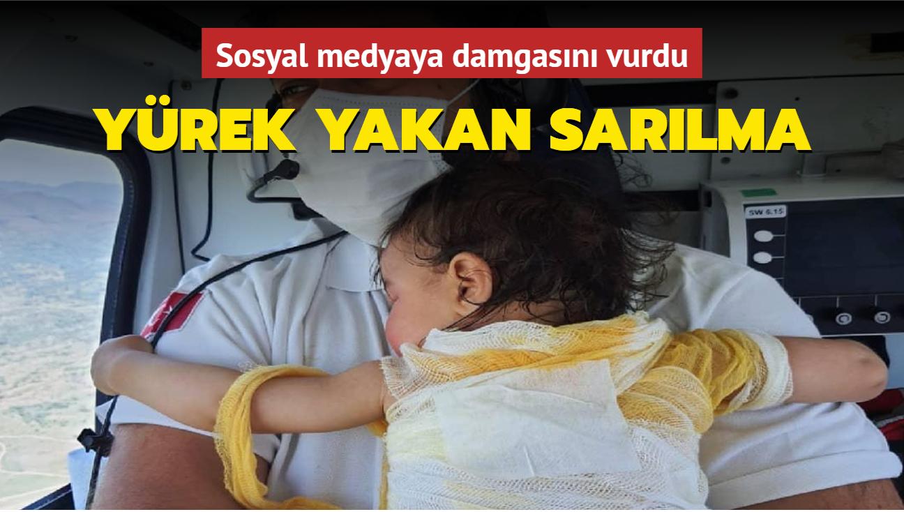 Sosyal medya bu fotoğrafı konuşuyor: Beril bebek sağlık görevlisine sıkı sıkı sarıldı