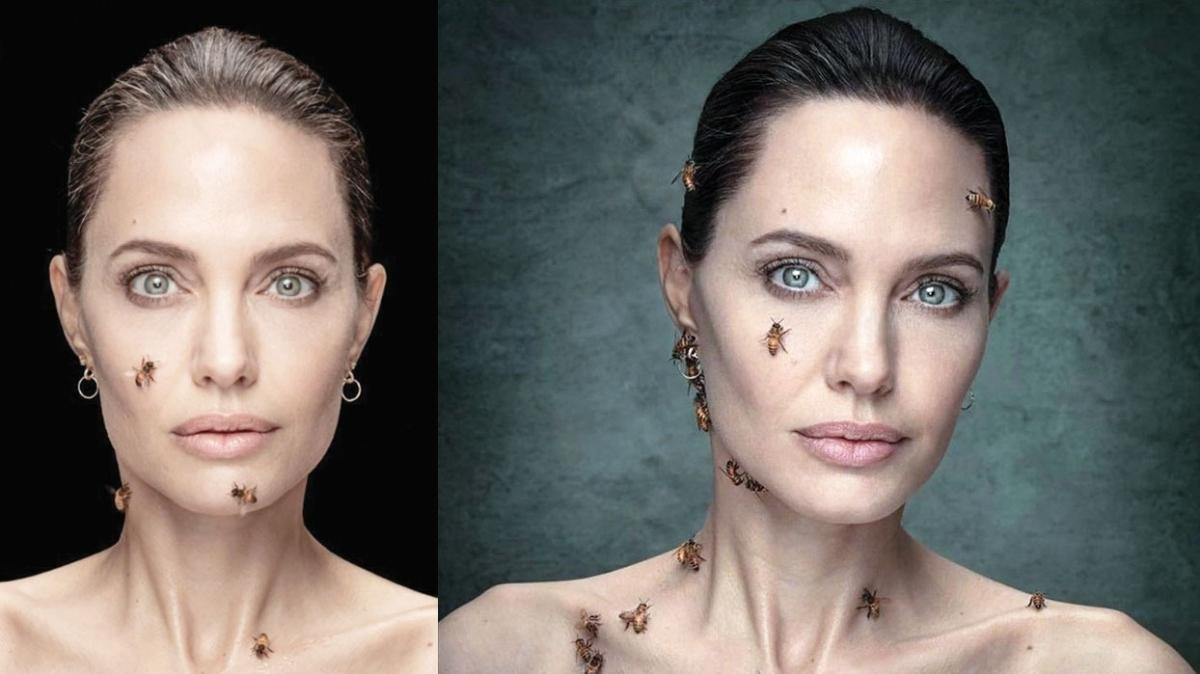 Angelina Jolie arılar için poz verdi
