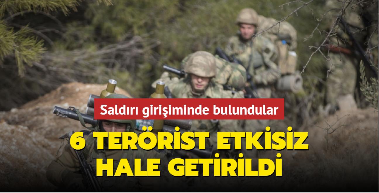 MSB: Saldırı girişiminde bulunan 6 PKK/YPG'li etkisiz hale getirildi