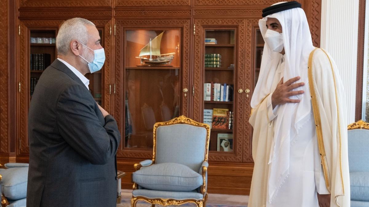 Katar Emiri ile Hamas lideri görüştü: Gazze'nin yeniden imarı konuşuldu