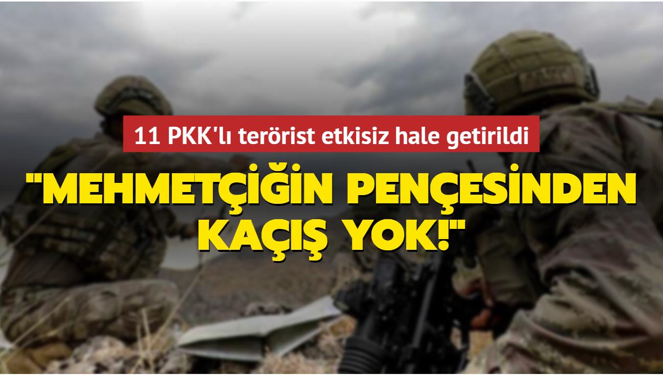 Mehmetçiğin Pençesinden kaçış yok! 11 PKK'lı terörist etkisiz hale getirildi