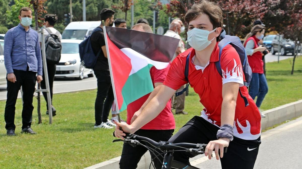 Samsun'dan Filistin'e destek... Pedal çevirdiler