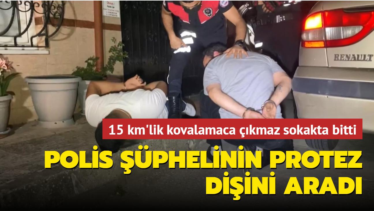 Bursa'da 15 km'lik kovalamaca sokakta bitti: Polisten kaçarken protez dişini düşüren kişinin dişini polis aradı