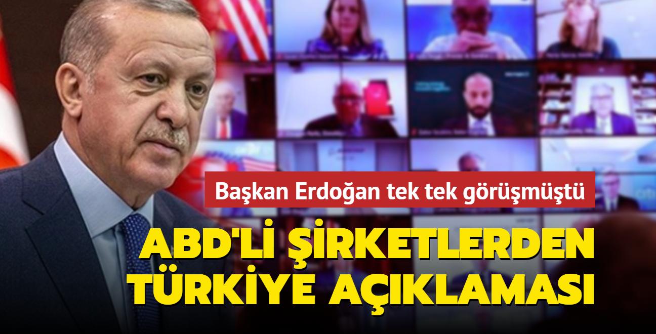 Başkan Erdoğan tek tek görüşmüştü: ABD merkezli şirketlerden Türkiye açıklaması