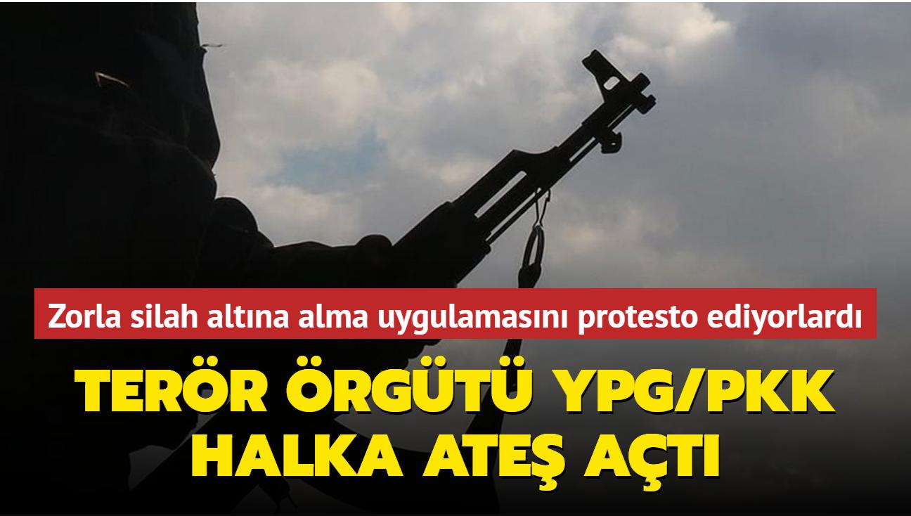 Zorla silah altına alma uygulamasını protesto ediyorlardı... Terör örgütü YPG/PKK halka ateş açtı