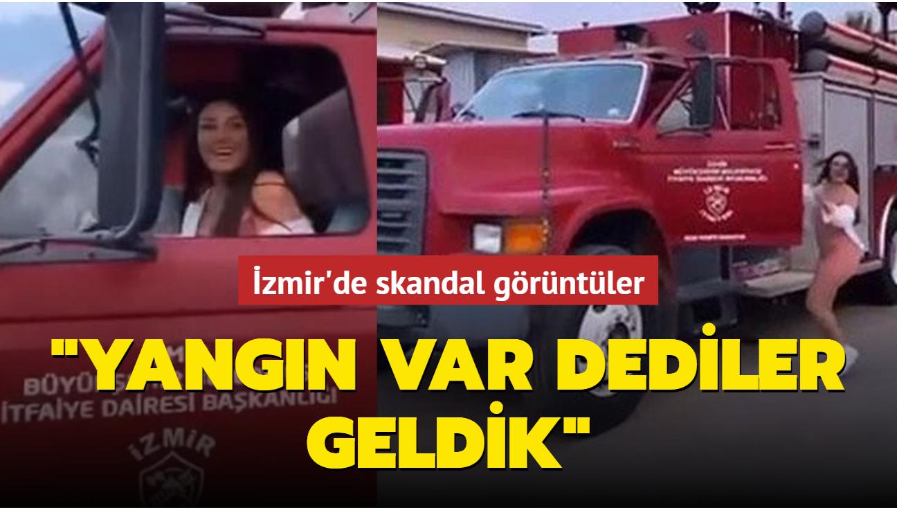 İzmir Büyükşehir Belediyesi'ne ait itfaiye aracını kullanan 3 kadının görüntüsü olay oldu