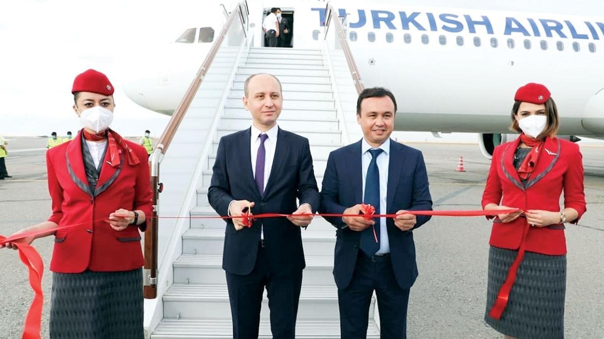 THY, İstanbul Fergana arası ilk seferini yaptı