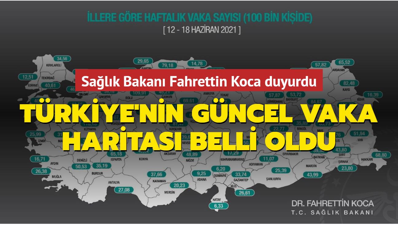 Sağlık Bakanı Koca paylaştı... İşte Türkiye'nin vaka haritası