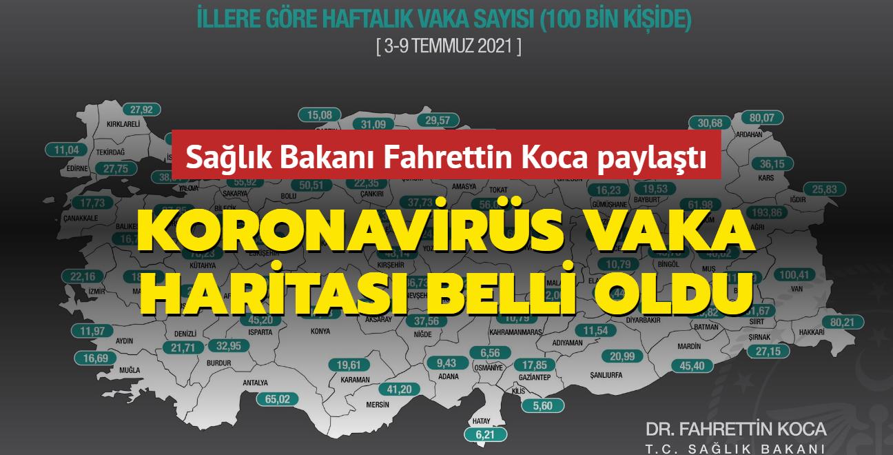 Sağlık Bakanı Koca paylaştı... İşte Türkiye'nin güncel koronavirüs vaka haritası