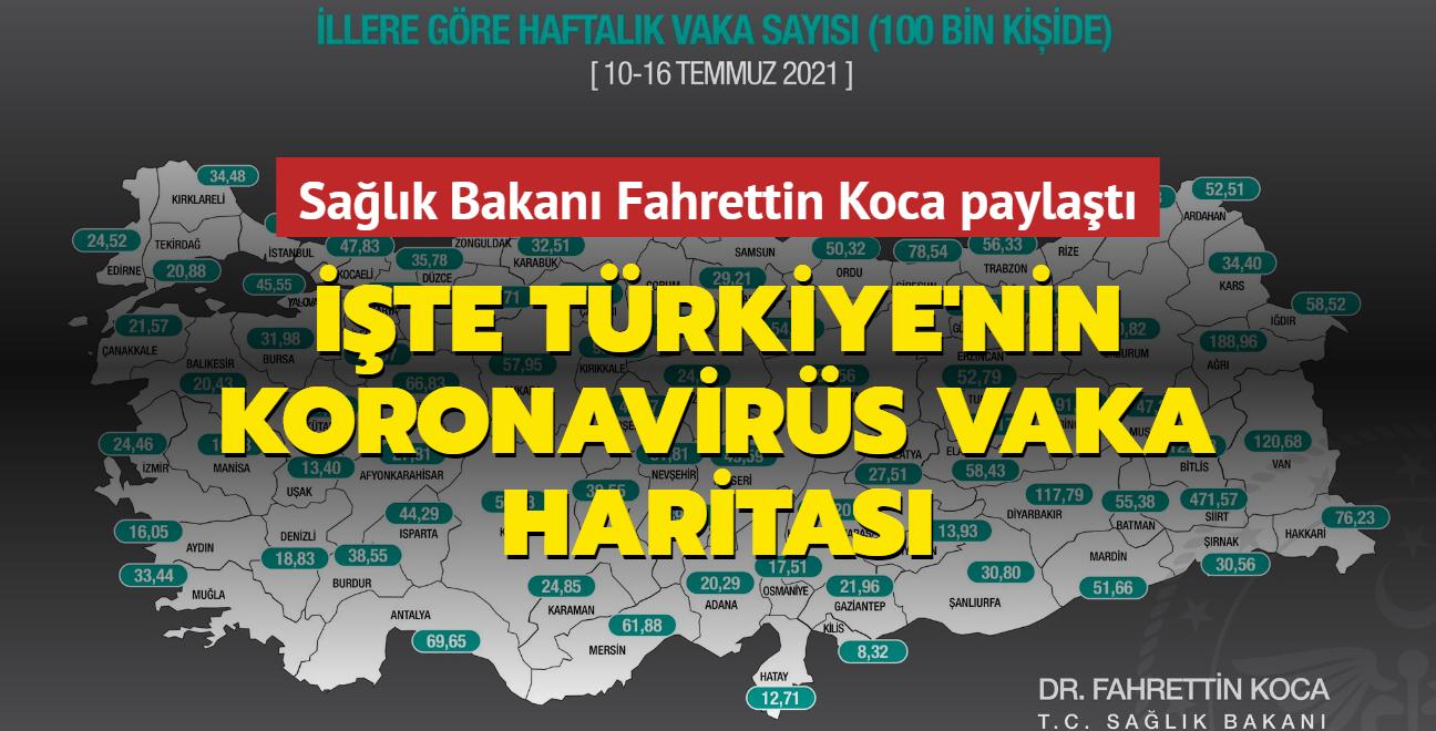 Sağlık Bakanı Fahrettin Koca paylaştı... İşte Türkiye'nin koronavirüs vaka haritası