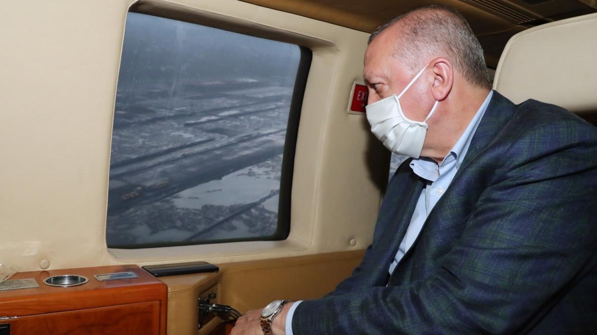 Başkan Erdoğan, Rize-Artvin Havalimanını havadan inceledi
