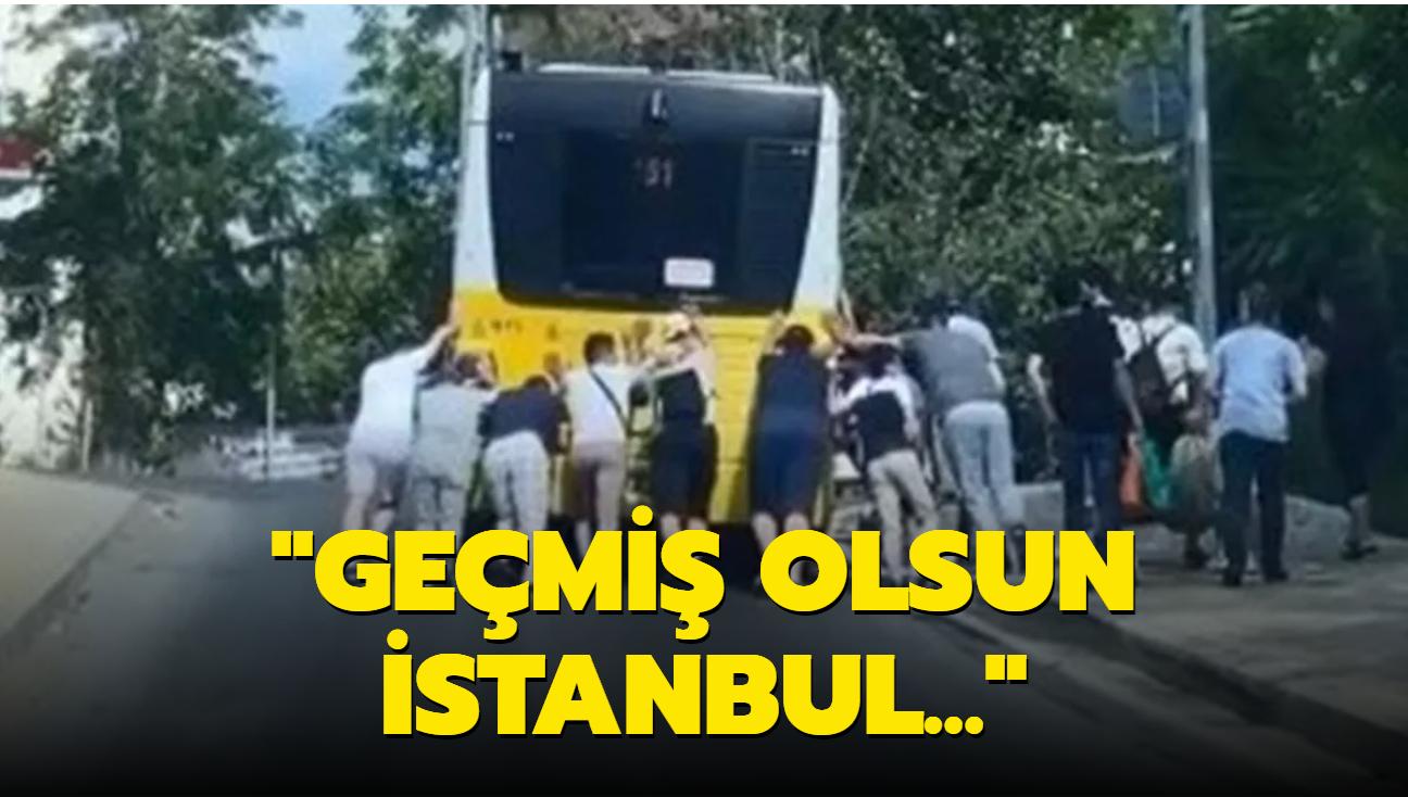 Yolcuların İETT otobüsünü ittiği anlar saniye saniye kamerada