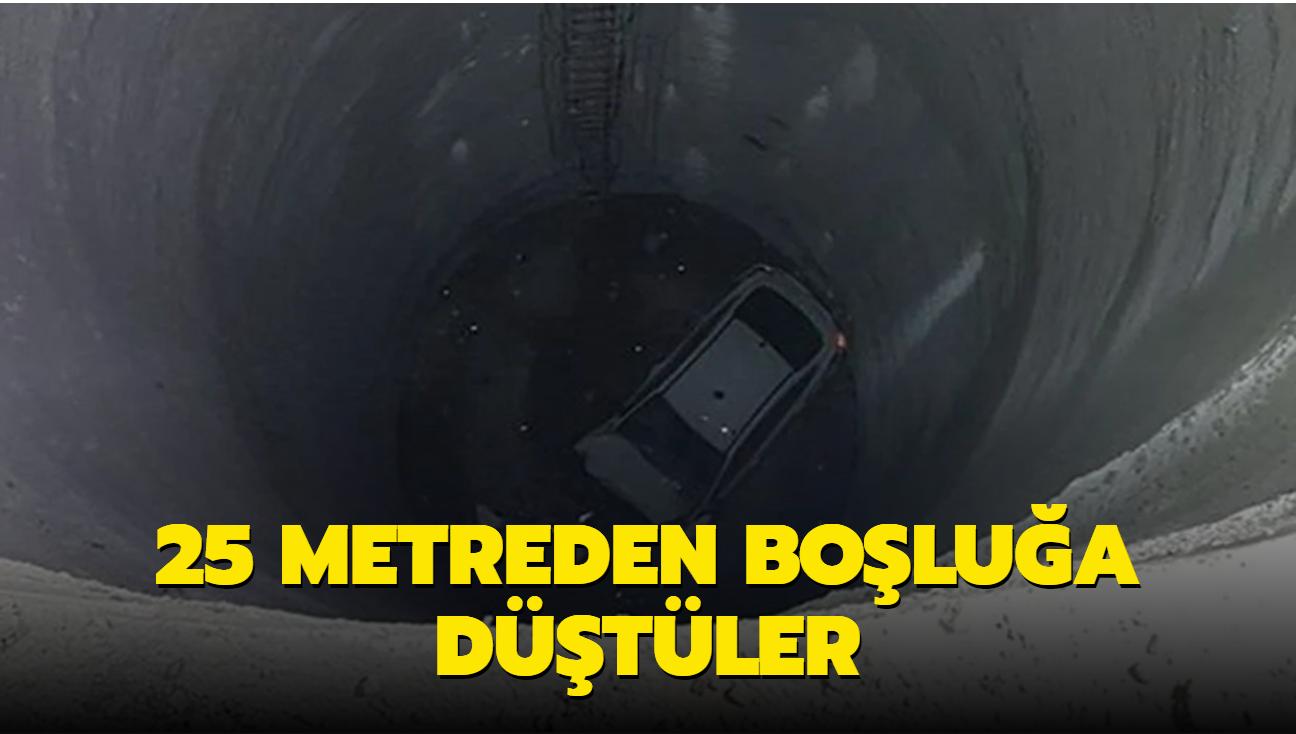 İzmir'de otomobil 25 metrelik boşluğa düştü