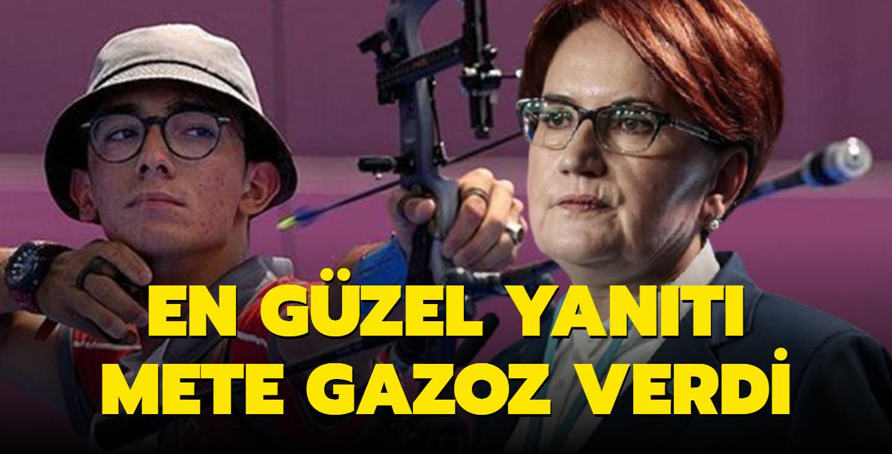 Akşener'in 'Okçular Vakfı' sözlerine Mete Gazoz'dan altın madalyalı yanıt