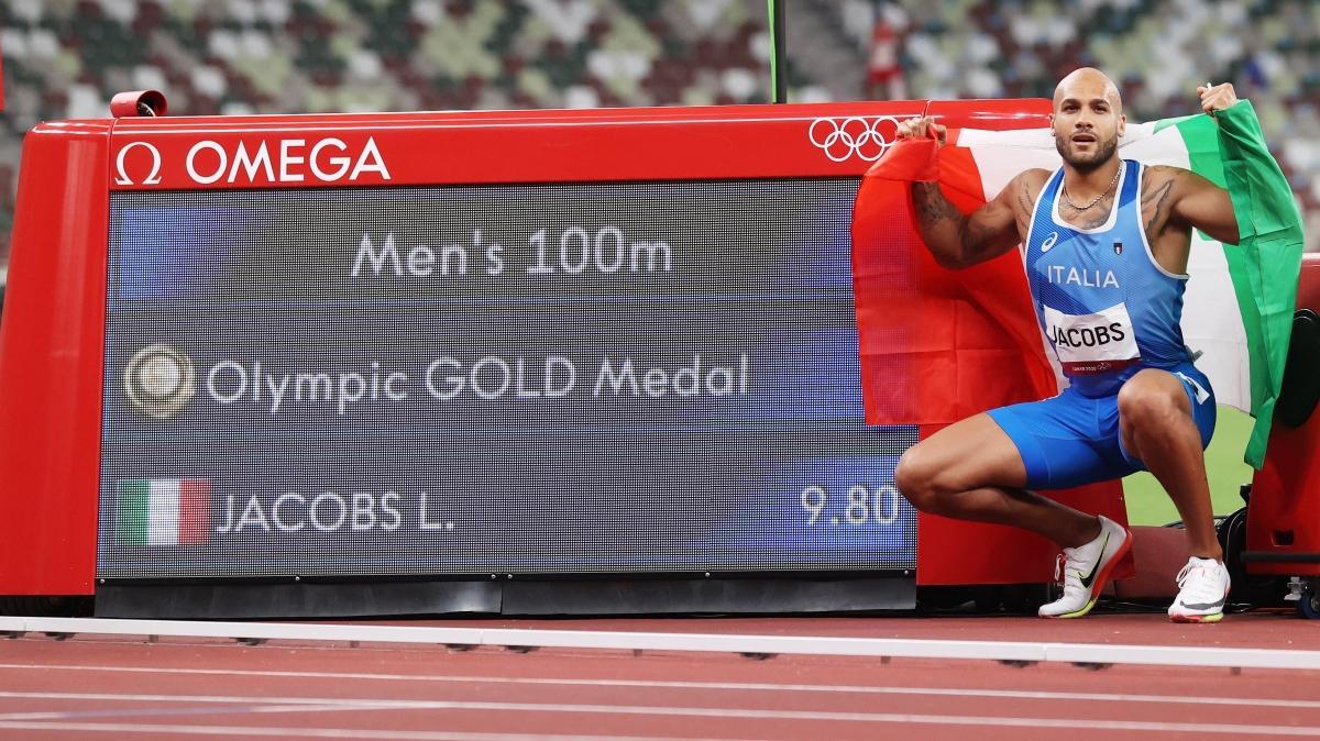 100 metre finalinde altın madalya Lamont Marcell Jacobs'un