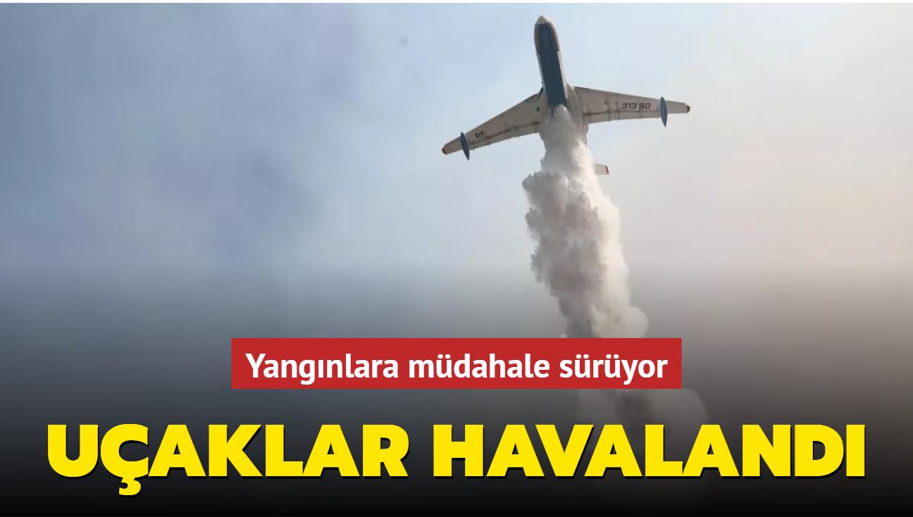 Antalya ve Muğla'daki yangına 13 uçakla müdahale